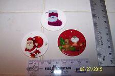 Lot Of 3 CHRISTMAS 1 Inch Charms Pendants Santa, Stocking, Christmas Scene