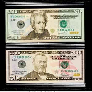 $20 & $50 2004 FRN San Francisco Evolutions Two Note Set With Matching Serial #