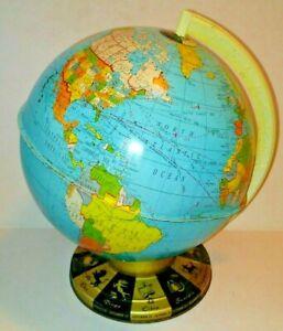 "Vintage 1963 9"" World Globe Ohio Art Tin Metal Zodiac Astrology Base Mid-Century"