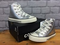 CONVERSE UK 12 EU 30 CHUCK TAYLOR ALL STARS HI SNAKE SILVER TRAINERS GIRLS LB