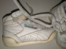 Vintage Reebok Infant Fitness Hi-Top Size 2 Shoes Sneakers White