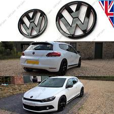 NUOVO VW SCIROCCO Mk3 SET ANTERIORE POSTERIORE COPPIA NERO LUCIDO Badge Logo Emblema POSTERIORE BOOT