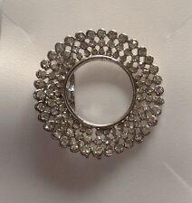 4 X silver diamante Round brooch Bridal Prom Wreath Christmas Decoration 3cm