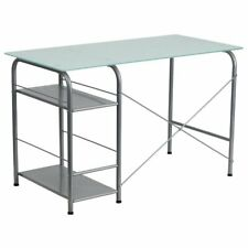 Flash Furniture Glass Top Home Office Desk in Silver
