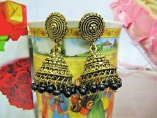 Black Onyx Gemstone Gold Oxidize Plated Jhumka Jhumki Stud Handmade Earrings