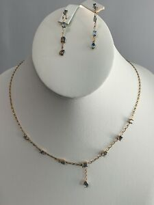 Aquamarine March Birthstone Earrings Pendant 14ktYellow Gold Valentines Is Near