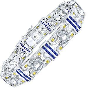 """Men's Blue Yellow CZ Stones Real Sterling Silver .925 Fancy Bracelet 8"""" 9"""""""
