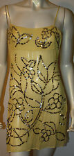 BCBG Yellow Gold Sequin Silk Top Shell Tunic Cami NWT $160 S Evening Cocktail