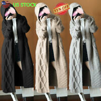 Womens Chunky Knitted Cardigan Hooded Long Sleeve Sweater Coat Jacket Outwear US