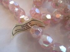 V795 100 Pcs VINTAGE West German Exquisite Pink Givre Glass Bead 9mm