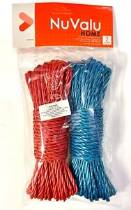 2Pk 50FT Plastic Clothesline Household Outdoor Laundry Rope String Blue Red
