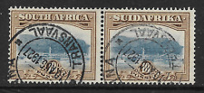 South Africa 1927 KGV 10/- Pair SG39 Fine Used Transvaal CDS