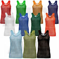 Men's Kid's Premium unisex vest String Vest 100% Cotton Gym Tank Top Summer Mesh
