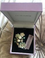 JON RICHARD Gold Tone Green Enamel Crystal Faux Pearl Flower Brooch NEW In BOX(N