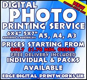 DIGITAL PHOTO PRINTING SERVICE - 6x4 5X7 A5 A4 A3