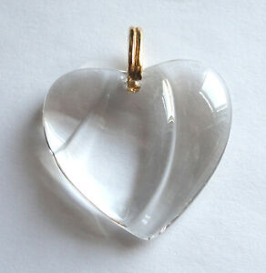 """BACCARAT Clear CRYSTAL1.5"""" PUFFY HEART PENDANT/Necklace 14k GOLD BAIL France"""