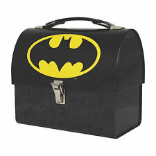 Logotipo de Batman semicirculares Tin Tote Caja de almuerzo Retro Caddy Dark Knight Justice League Regalo