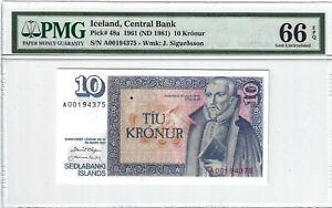 P-48a 1961 10 Kronur, Iceland Central Bank,  PMG 66EPQ Nice!