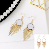 Women Bohemian Long Dangle Tassel Fringe Drop  Hook Earrings Jewelry