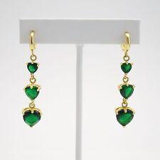 Beautiful Pair of Gold Plated Green Heart Shape Chrysoprase Gemstone Earrings