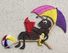 Black Ant - Beach Chair/Umbrella/Book/Ball - Iron on Applique/Embroidered Patch