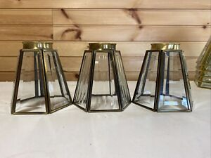 Lot Of 3 VTG Mission Style Light Fixture Sconce Beveled Glass Shades