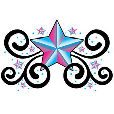 """Upper & Lower Back"" Temporary Tattoo, Blue & Pink Stars, Made in USA"
