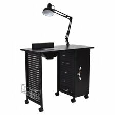Giantex Manicure Nail Table Station Black Steel Frame Spa Salon Equipment Drawer