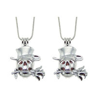 Fashion Metal Silver Alloy Flower Skull Head Pearl Cage Locket Pendant Necklace