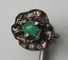 CeS Ring Chrysopras, pink Turmalin, Tsavorit und Tansanit, Blütenring