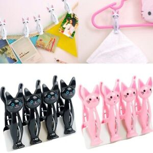 4Pcs/Set Plastic Cartoon Cat Clothes Pin Clips Clamps Hanging Laundry Pegs Hooks