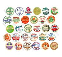 Milk Cap Stickers, Vintage Kitchen Milk Bottle Cap Reproduction Art Tag, 1 Sheet