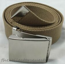 "NEW 1.5"" WIDE 54"" inch KHAKI CHROME FLIP TOP BUCKLE CANVAS MILITARY WEB BELT"