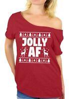 Jolly AF Christmas Off Shoulder Shirt Women's Ugly Christmas Shirt Xmas Gifts