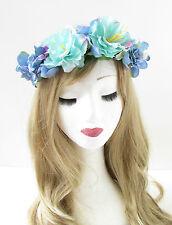 Turquoise Blue Hydrangea Rose Flower Headband Hair Crown Festival Garland 715