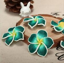 3pcs DIY 35mm Hot Pottery Flower Hair Accessories Flower Pottery FIMO Hole green