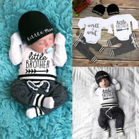 Cute Newborn Baby Boy Girl Clothes Jumpsuit Romper Bodysuit + Pants +Hat Outfit