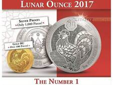 50 francos lunar ounce year of the Rooster Hahn ruanda 1 Oz plata Silver 2017