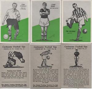 Cardmaster Football Tips 1958 CREAM BACK  The Master Vending Machine Co.Ltd.