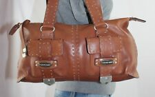 MICHAEL KORS Studded Brown Leather Shoulder Hobo Tote Satchel Slouch Purse Bag