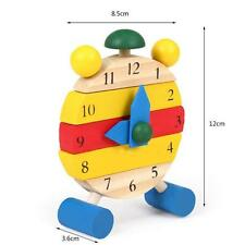 Hand Made Wooden Clock Toys for Kids Learn Time Clock Educational Toys HOT4