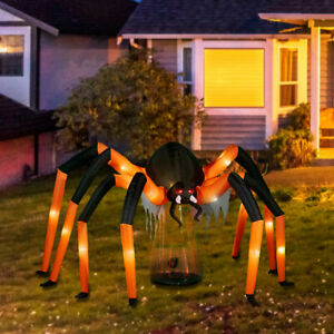9-Ft Lighted Giant Spider Airblown Inflatable Outdoor Halloween Decoration