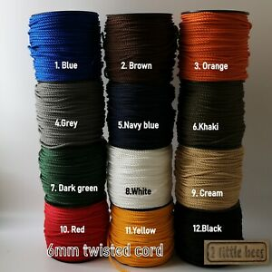 6mm Twisted Cord Strong Rope Drawstring Lacing Piping Tying Craft Curtains DIY