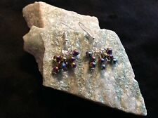 Simulated hematite 4mm bead cluster silver plated hook earrings