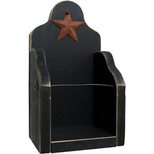 New Primitive Rustic Country BLACK STAR JAR CANDLE SHELF Wood Holder Wall Rack