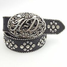 "1.5"" crystallized and studded leather belt with  Harley Davidson Engraved Buckle"