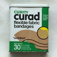 Vtg Curity Tin ONLY Metal Curad Flexible Fabric Bandages Colgate-Palmolive Co
