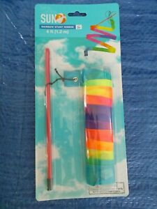 Rainbow Stunt Ribbon 4ft. like a Kite 3+ Outdoor Toys! 'bring on the sun' *NEW*