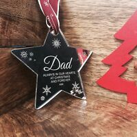 "Mirror Christmas Tree Decoration Bauble "" To Remember Dad at Xmas"""