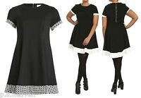 LADIES NEW BLACK SWING DRESS PRINT CONTRAST BORDER SIZE 16 - 26 LARGE ZIP BACK